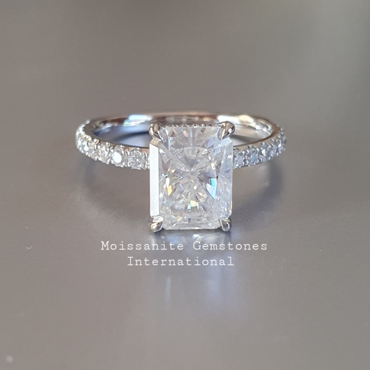 3.2ct Radiant cut Moissanite Engagement Ring